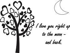 I LOVE YOU RIGHT UP TO THE MOON Vinyl WallDecal Wall Lettering Quote Words