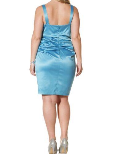 Suzi Chin Women/'s Stretch Satin Dress Rouching 363 Aqua Blue Plus Size 18 or 20