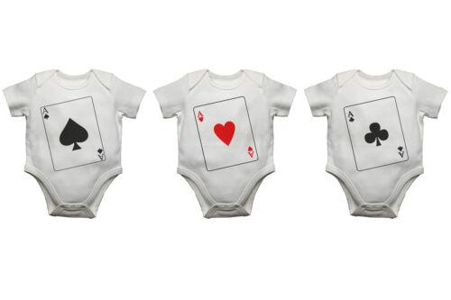 Triplets Baby bodysuits Aces Babygrow Vest Gift Present Newborn Set Of 3