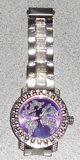 MENS WATCH ICED OUT NEW BIG FACE SILVER HIP HOP WORLD MAP TRAVELER PURPLE BLING
