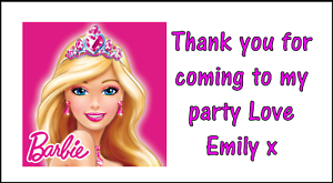 Details about Personalised x 48 Barbie Stickers Labels Party Bag Sweet  Cones Thank You