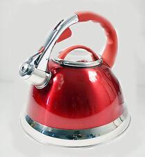 3ltr Rosso Bollitore in Acciaio Inox Fischio Gas & ELECTRIC i piani cottura a Veloce Bollire