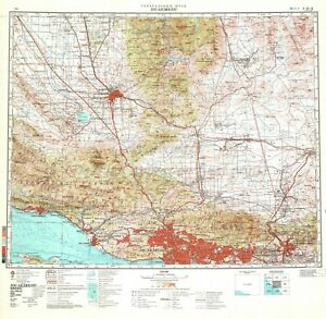 Soviet Russian Topographic Map LOS ANGELES, USA 1:500 000 Ed.1981 POSTER PRINT