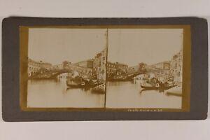 Italia Venezia Pont Rialto Foto Stereo Vintage Citrato c1900 Danneggiata