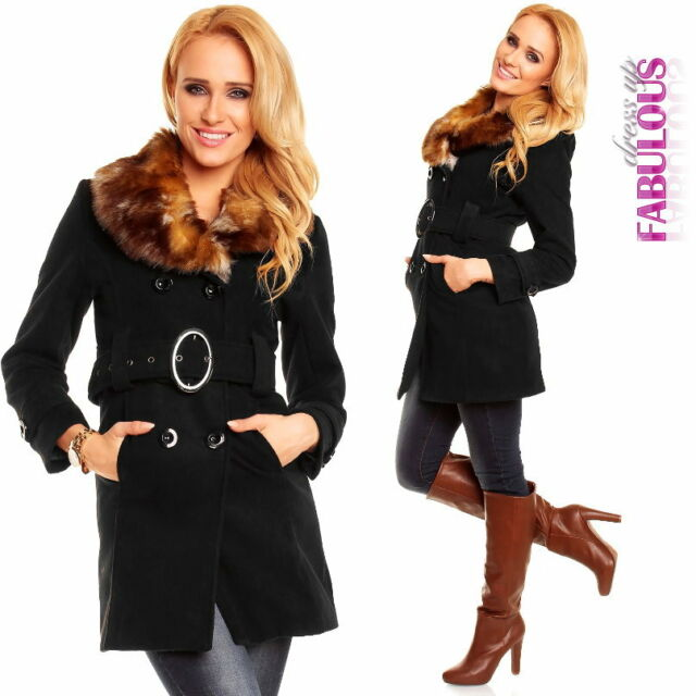 Ladies Long Coats Jacket Faux Fur Size 10 12 6 8 XS S M L Christmas Gift for Her