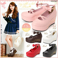 Punk Gothic Lolita Sweet Bow Bell Cosplay Shoes High Platform