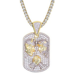 Details about Men's Devil V/S God Custom Pendant 14K Gold Finish Iced Out  Stone Chain Choice