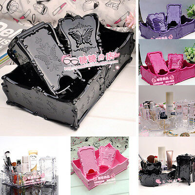 3x Acrylic Organizer Large Square Tray Makeup Brush Stand Holder Cotton Pad Case