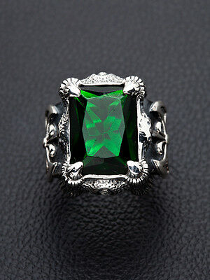 HUGE GREEN EMERALD CLAW & AXE DRAGON 925 STERLING SILVER MENS RING Sz 6.5-16.5