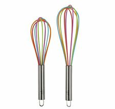 Core Kitchen Stainless Steel & Silicone 2pc Whisk Set - Rainbow