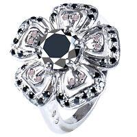 4.08 ct AAA BLACK MOISSANITE & WHITE NATURAL ROUGH DIAMOND .925 SILVER RING