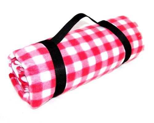 Fleece Picknickdecke wasserabweisend Rot Weiß Auszeit Tragegriff  Decke Neu OVP