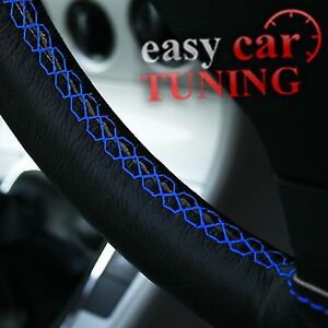 FOR-MITSUBISHI-COLT-02-12-BLACK-REAL-GENUINE-LEATHER-STEERING-WHEEL-COVER-BLUE