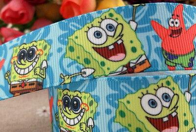 "Sponge Bob Square Pants printed grosgrain ribbon 22mm /7/8"" wide"