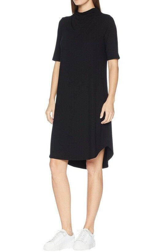 Eileen Fisher schwarz Viscose Jersey Drape Neck Elbow Sleeve Dress M NWT