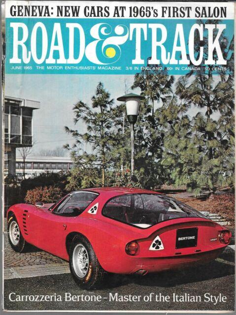 ROAD & TRACK MAGAZINE JUNE 1965 (GD) CARROZZERIA BERTONE