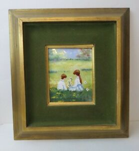 Signed J. L. Mid Century Enamel On Copper Painting. Boy Girl with Flowers Framed