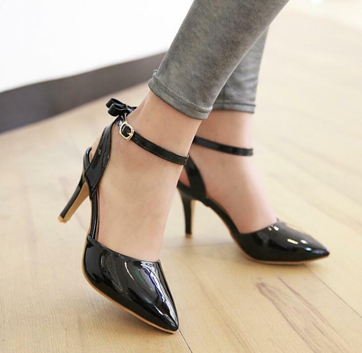 New New New Womens Pumps shoes Dress Party Buckle Bow Patent Leather High Heels Big Size 28279c
