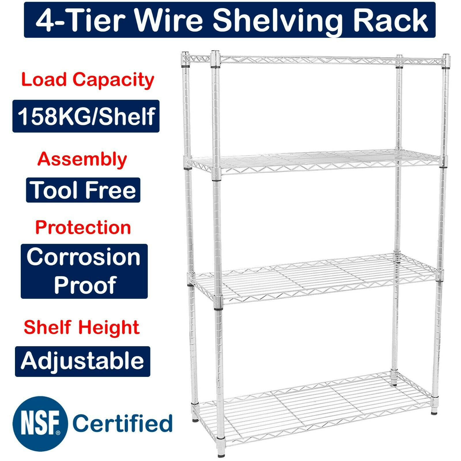 4-Tier Metal Rack Wire Shelving Kitchen Garage Shelf Storage Home Organizer