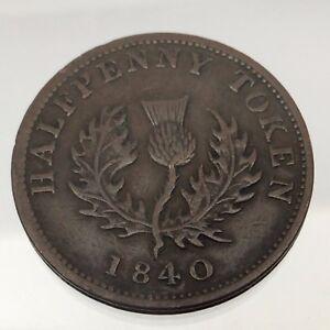 1840-Province-Of-Nova-Scotia-Canada-Copper-One-Half-Penny-Colonial-Token-B536