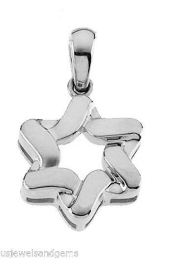 New 14k White gold Star of David Jewish Pendant