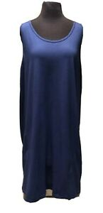 FRESH-PRODUCE-Women-039-s-Plus-Size-2X-Navy-BLUE-Cotton-Tank-Dress