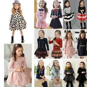 Madchen Kinder Langarm Prinzessin Kleider Tunika Hochzeit Freizeit Feste Mode Ebay