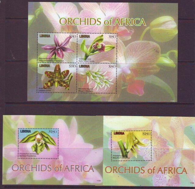 LIBERIA 2011 ORCHIDS OF AFRICA SHEETLET 4+2 MINISHEET Part 1  MINT NEVERHINGED