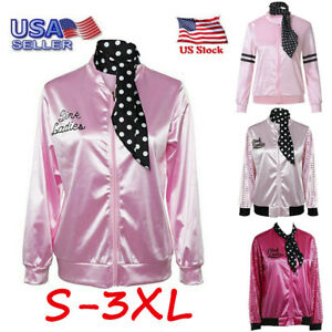 Womens Ladies Zipper Danny Pink Ladies Satin Jacket Costume with Polka Dot Scarf