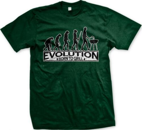 Evolution of Man Born To Grill Master Cookout Grilling BBQ Barbecue Mens T-shirt