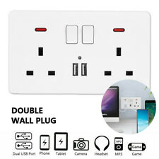 Double Wall UK Plug Socket 2 Gang 13A 3 USB Charger Port Outlets Plate WhiteAT