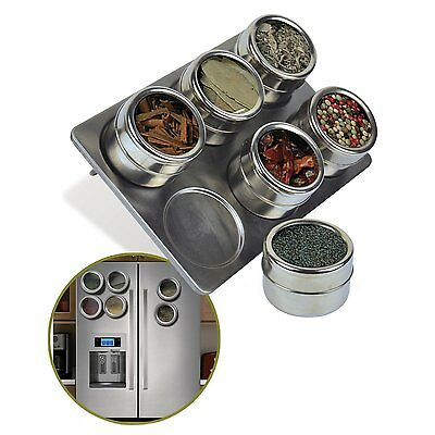 6 PC MAGNETIC STAINLESS STEEL SPICE HERB POT RACK JAR TIN STORAGE HOLDER STAND