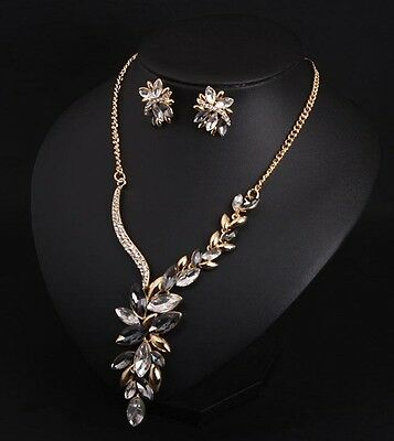 Fashion Crystal Flower Statement Necklace+Earrings Fashion Women Accessories