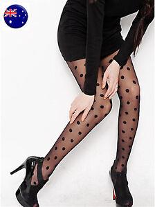 Women-Lady-Sexy-Black-70-80-039-Retro-Polka-Dots-Pantyhose-Tights-Stockings-Opaque