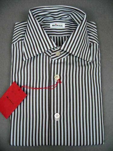 New Kiton White Dark Chocolate Cotton Dress Shirt
