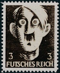 Stamp-Replica-Label-Germany-0101-WWII-Fuhrer-Goofy-Hitler-Futsches-Reich-MNH