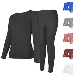 Womens Winter Ultra-Soft Fleece Lined Thermal Top & Bottom Underwear Set