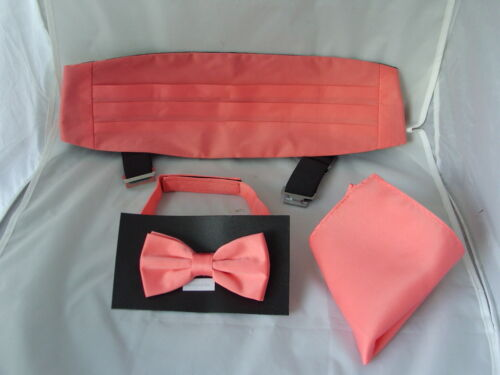 Cummerbund and Hankie Set /<Top DEAL/> Solid Coral-Salmon Polyester Mens Bow Tie