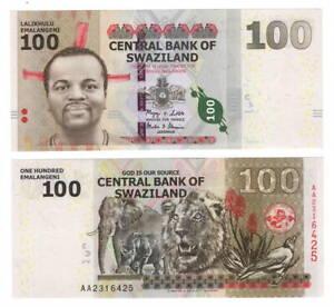 UNC-eSwatini-SWAZILAND-Tyvek-100-Emalangeni-2010-P-39a-AA-Prefix