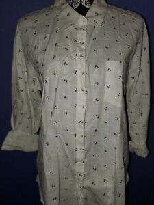 NWT-LADIES-MAURICES-WHITE-ANCHOR-NAVY-BUTTON-DOWN-SHIRT-XLARGE-FREE-SHIPPING