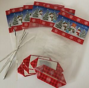 Details About Pack Of 6 Christmas Cellophane Treat Bags With Card Bottom Xmas Festive Snowman