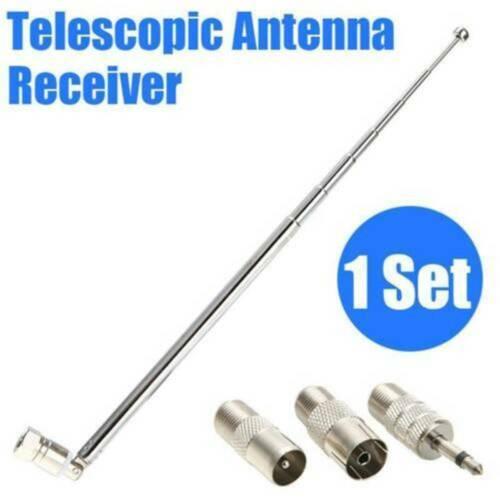 Silber 74cm Teleskop Antenne Ersatz F Stecker DAB UKW Radio FM AM Auto Audio r
