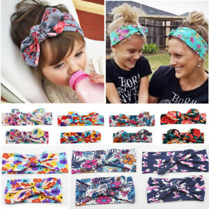 2pcs-Bow-Elastic-Knot-Turban-Floral-Flowers-Hair-Band-Mother-amp-Baby-Headband