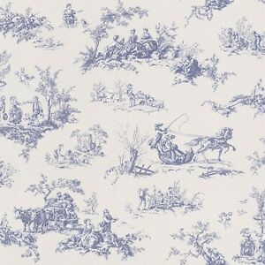 blue toile de jouy wallpaper paste the wall lazy sunday by rasch 451801 4000441451801 ebay. Black Bedroom Furniture Sets. Home Design Ideas