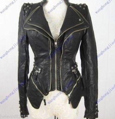 New Womens Punk Spike Studded Shoulder PU Leather Jacket Zipper coat Size S-3XL