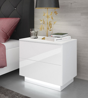 Bedside Table Led Nightstand High Gloss
