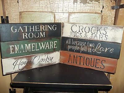 Wood Signs VTG Looking Distressed Aged Prim Country Decor Rustic Block Signs
