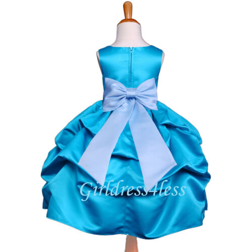 Turquoise Blue Wedding Flower Girl Pick Up Dress Gown 6M 12M 18M 2 3//4 6 8 10 12