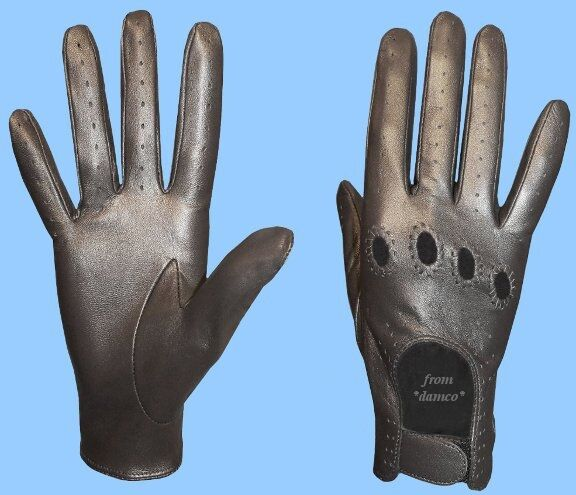 New WOMENS size 8.5 METALLIC PEWTER KID LEATHER DRIVING GLOVES