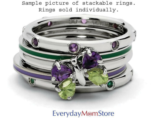 Silver Stackable Ring Round Peridot /& Diamond Stones August Birthstone QSK527